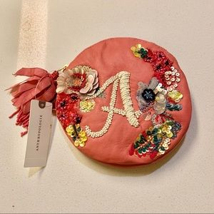 Red Leather Embroidered Monogram A Circle Pouch